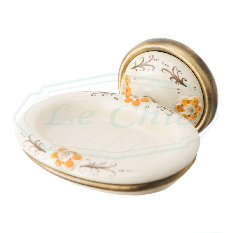 Accessori Bagno In Ceramica Decorata.Accessori Bagno 8 Pezzi Accessori Bronzo E Ceramica Decorata Le Chic Arredamenti